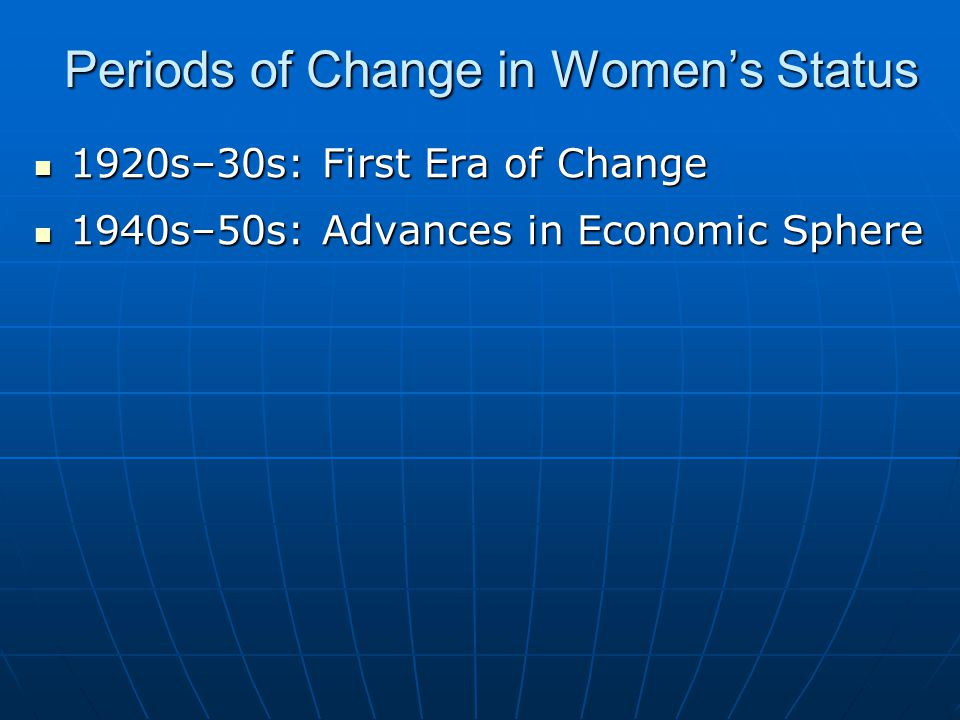 Periods of Change in Women's Status 1920s–30s: First Era of Change 1920s–30s: First Era of Change 1940s–50s: Advances in Economic Sphere 1940s–50s: Advances in Economic Sphere