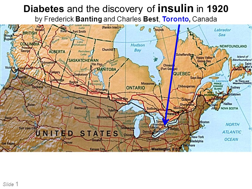 Slide 1 Diabetes and the discovery of insulin in 1920 by Frederick Banting and Charles Best, Toronto, Canada