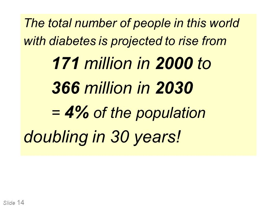 Slide 14 The total number of people in this world with diabetes is projected to rise from 171 million in 2000 to 366 million in 2030 = 4% of the popul