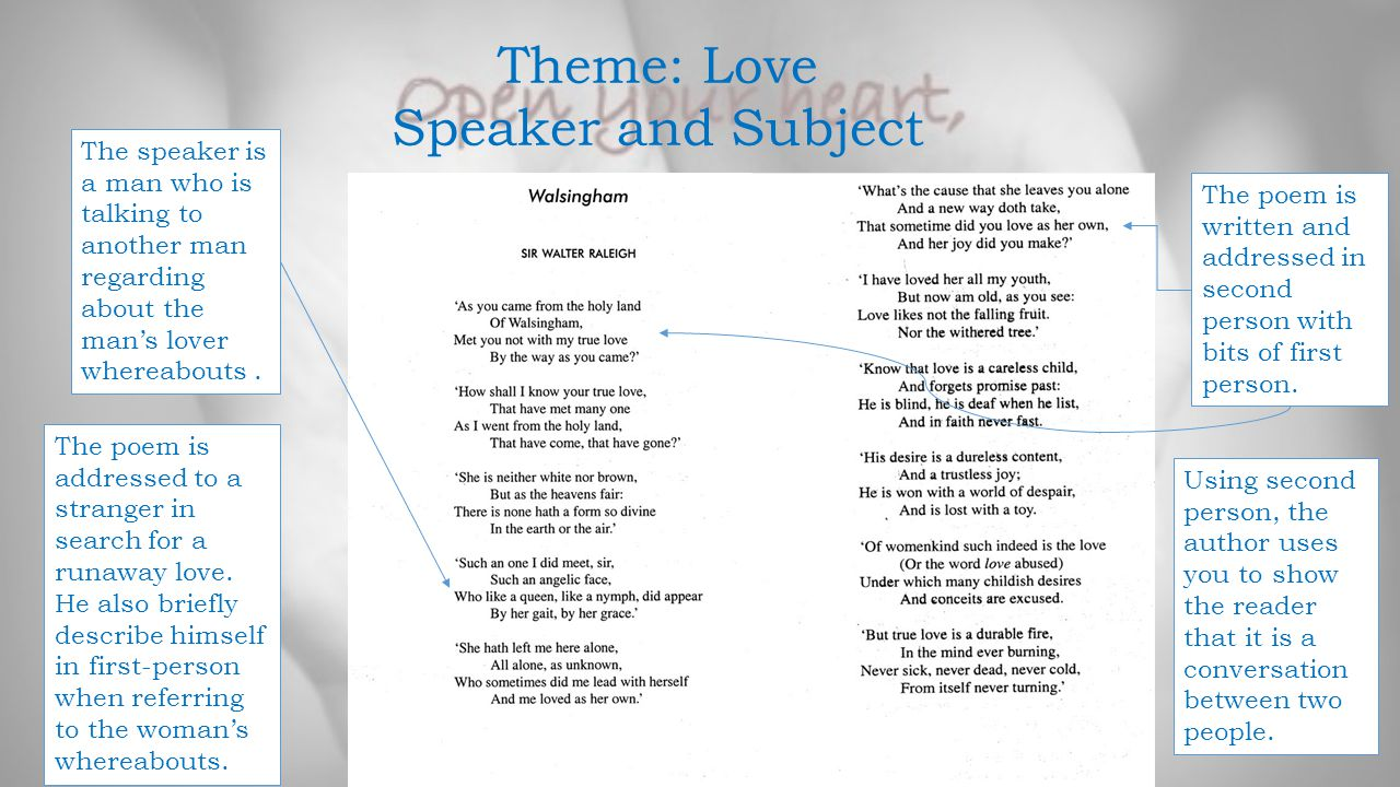 Theme: Love Speaker and Subject The speaker is a man who is talking to another man regarding about the man's lover whereabouts. The poem is written an