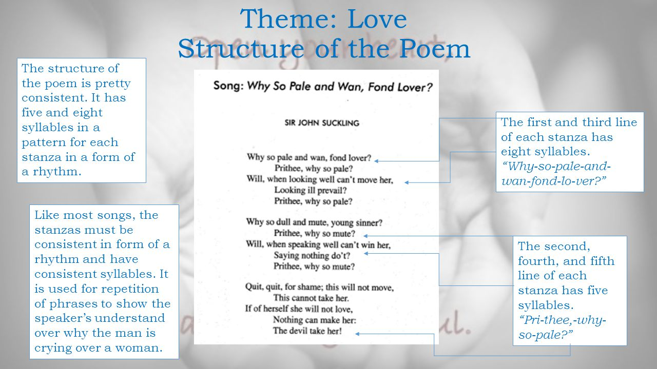 Theme: Love Style and Devices of the Poem Repetition- it repeats the phrases Prithee, why so pale? in the first stanza and Prithee, why so mute? in the second stanza.