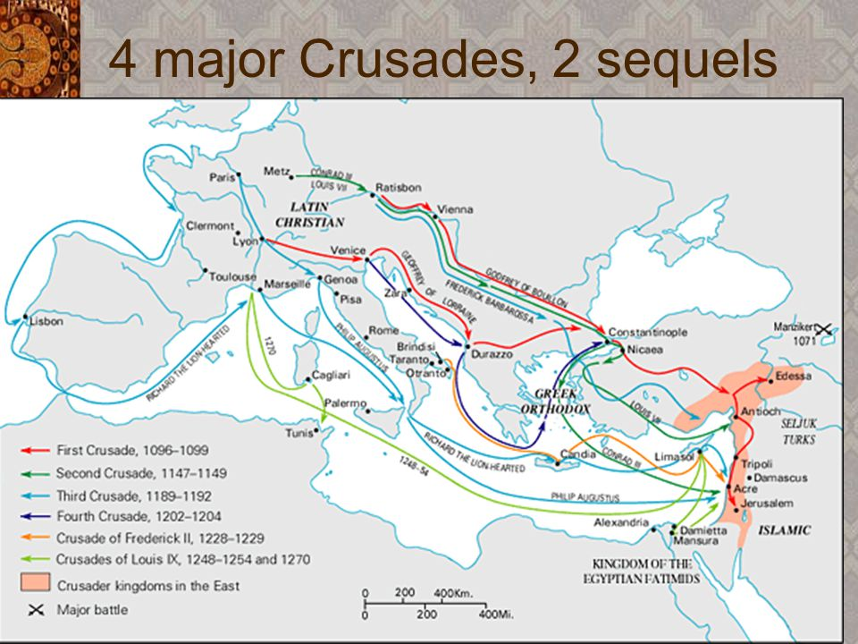 External attacks on Muslim- ruled realms, 1100-1260 Crusader invasions by Frankish forces Conquest of much of Andalus by armies of the Christian ruler