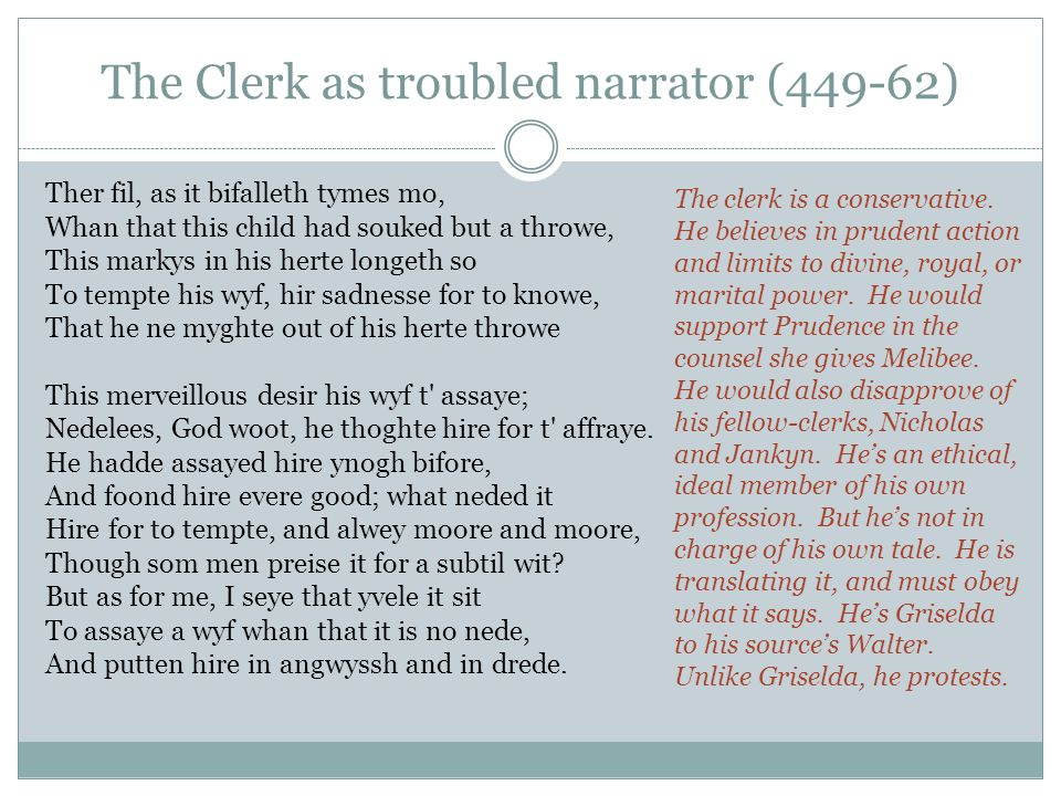 The Clerk as troubled narrator (449-62) Ther fil, as it bifalleth tymes mo, Whan that this child had souked but a throwe, This markys in his herte lon