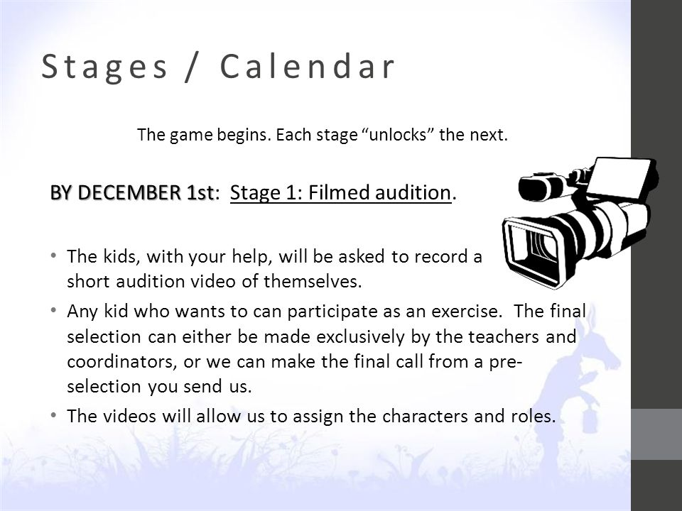 Stages / Calendar The game begins. Each stage unlocks the next.