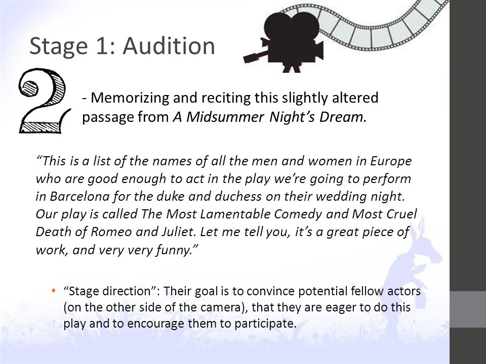 Stage 1: Audition - Memorizing and reciting this slightly altered passage from A Midsummer Night's Dream.