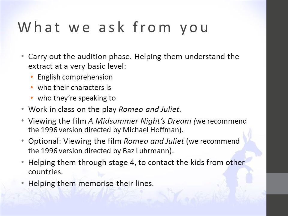 What we ask from you Carry out the audition phase.