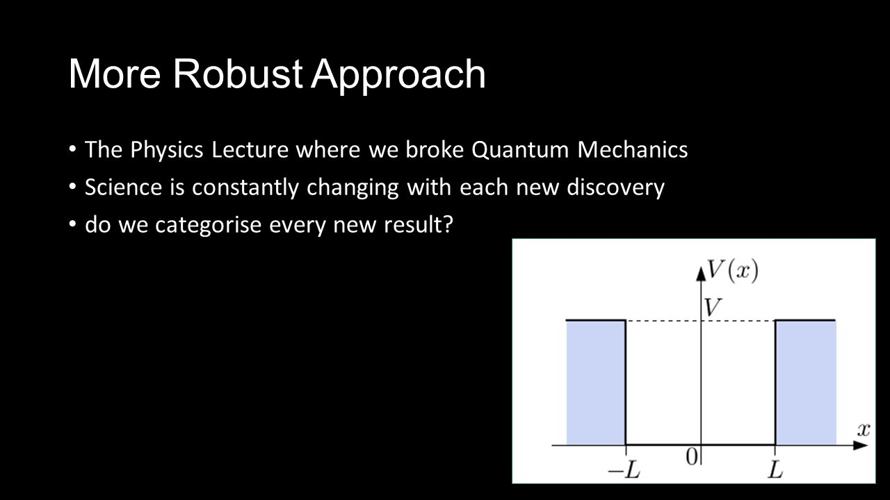 More Robust Approach The Physics Lecture where we broke Quantum Mechanics Science is constantly changing with each new discovery do we categorise ever