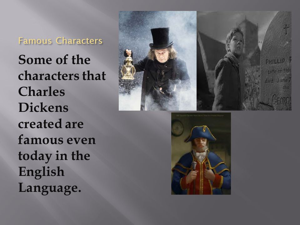 Famous Characters Some of the characters that Charles Dickens created are famous even today in the English Language.
