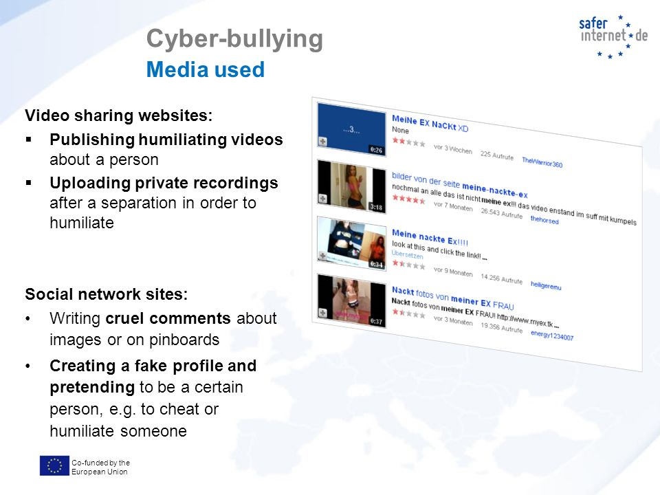 Co-funded by the European Union Video sharing websites:  Publishing humiliating videos about a person  Uploading private recordings after a separation in order to humiliate Social network sites: Writing cruel comments about images or on pinboards Creating a fake profile and pretending to be a certain person, e.g.