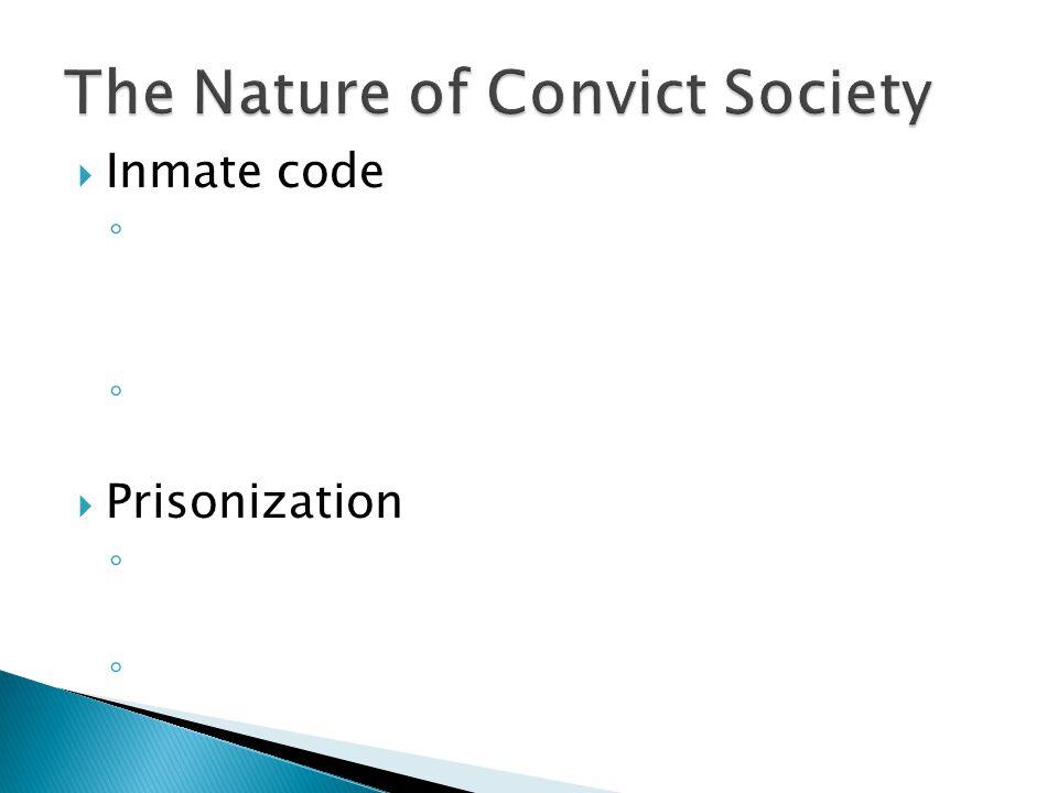  Inmate code ◦ ◦  Prisonization ◦ ◦