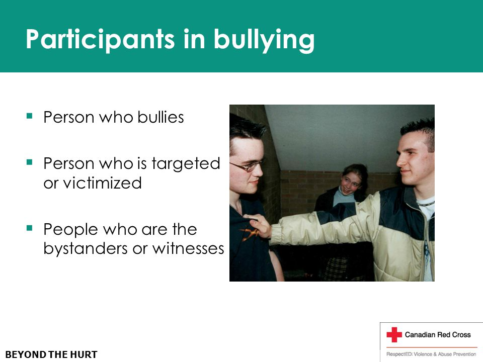 Participants in bullying  Person who bullies  Person who is targeted or victimized  People who are the bystanders or witnesses