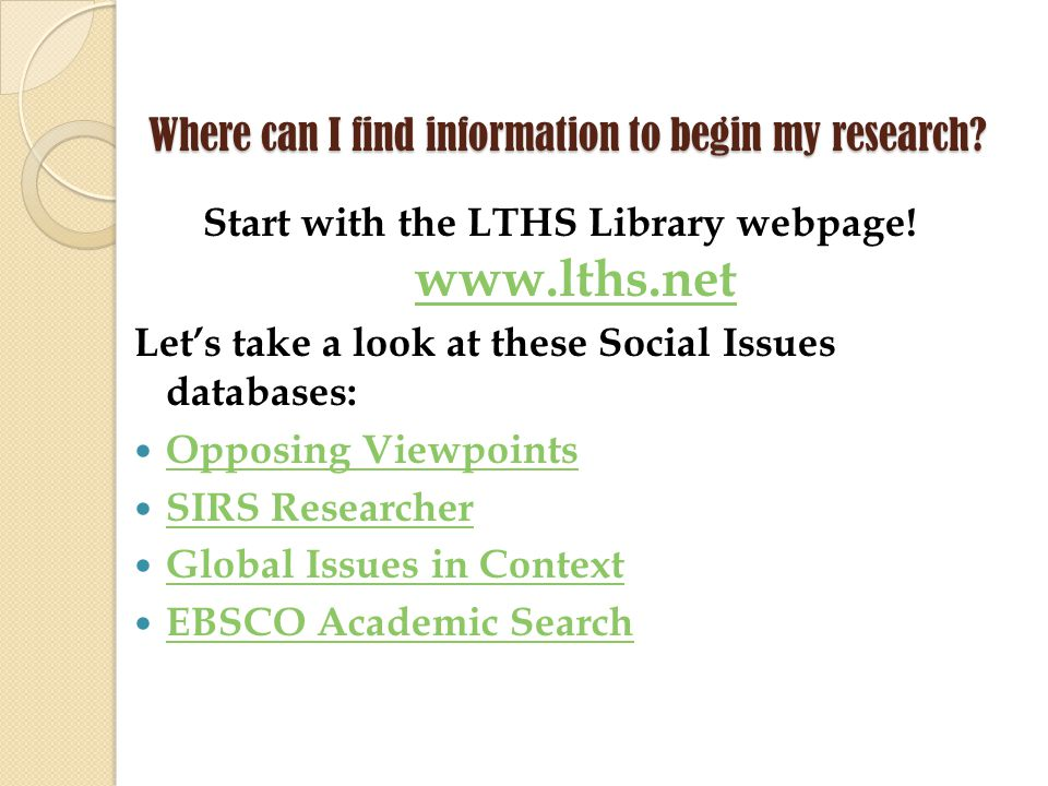 Where can I find information to begin my research.