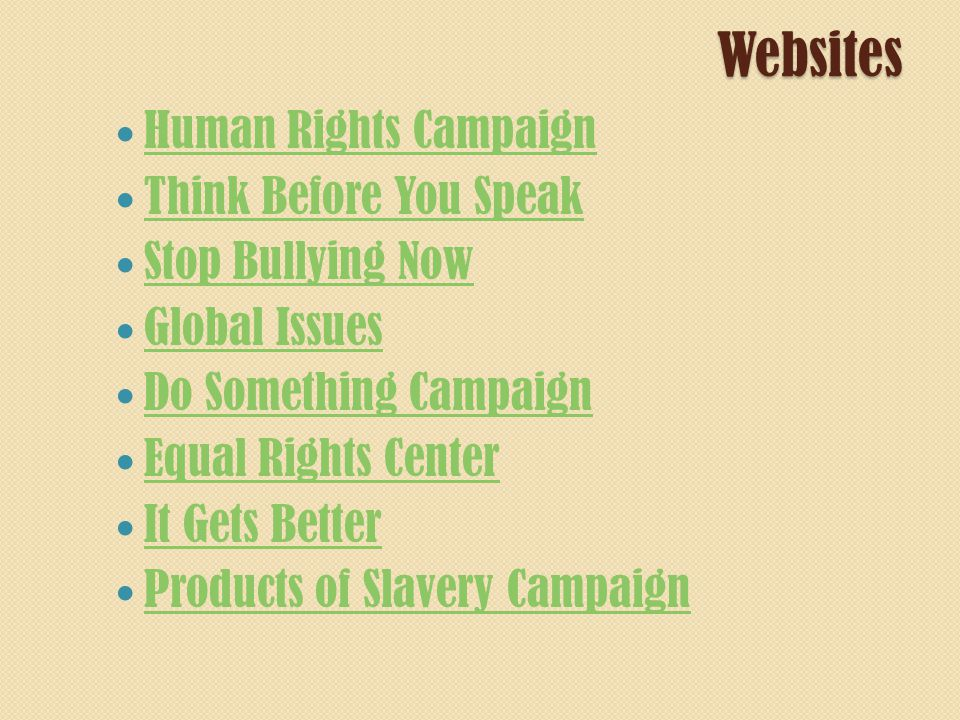 Websites Human Rights Campaign Think Before You Speak Stop Bullying Now Global Issues Do Something Campaign Equal Rights Center It Gets Better Products of Slavery Campaign