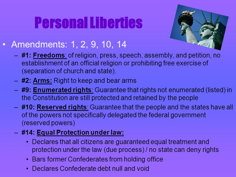 S L A V E R Y Amendment: 13 –#13: Abolition of Slavery: Slavery is illegal.