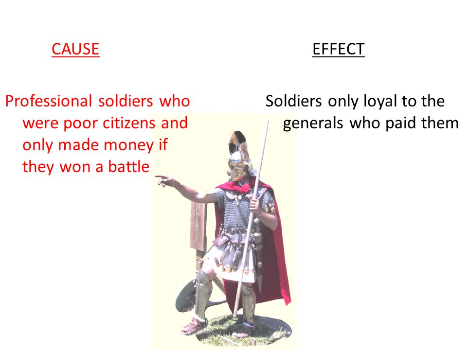 CAUSE Professional soldiers who were poor citizens and only made money if they won a battle EFFECT Soldiers only loyal to the generals who paid them