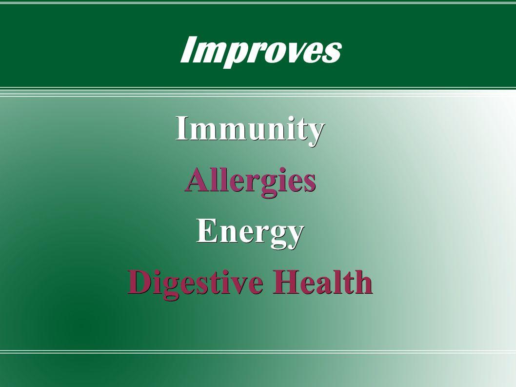Improves ImmunityAllergiesEnergy Digestive Health