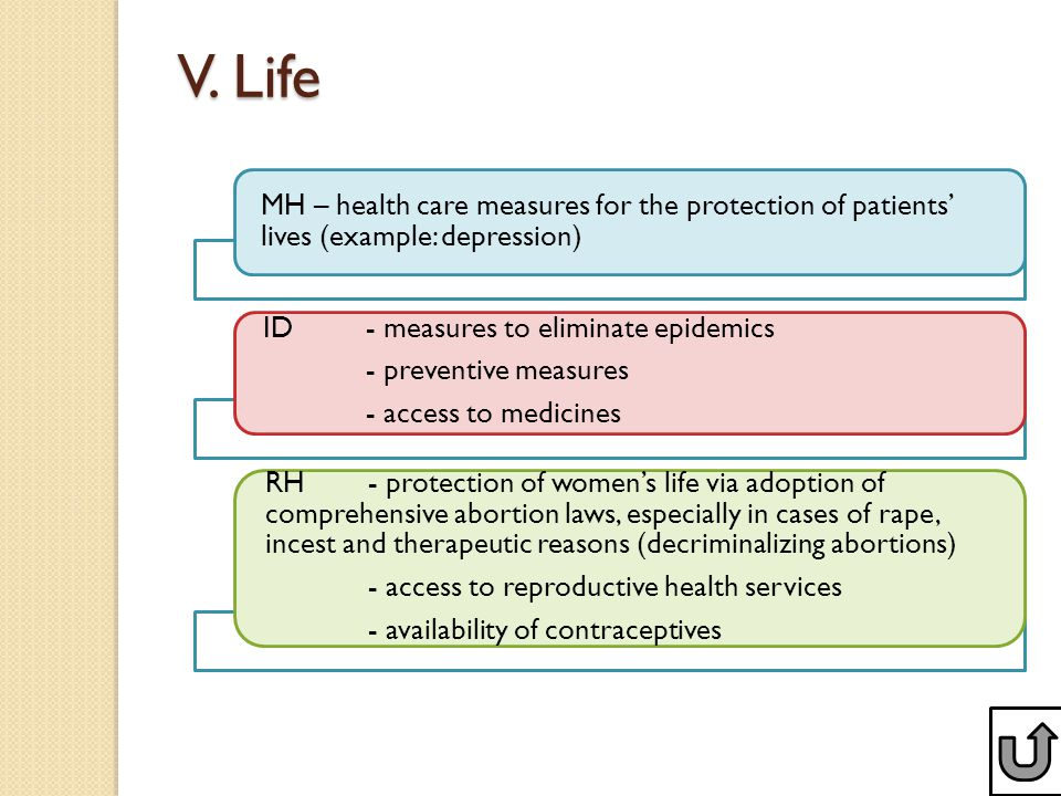 V. Life MH – health care measures for the protection of patients' lives (example: depression) ID- measures to eliminate epidemics - preventive measure