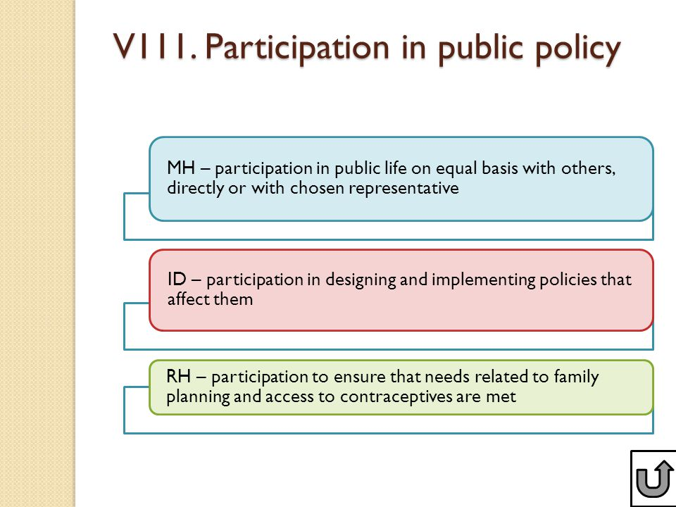 V111. Participation in public policy MH – participation in public life on equal basis with others, directly or with chosen representative ID – partici