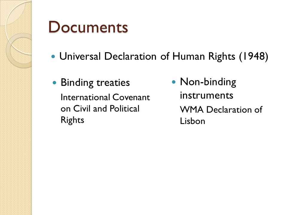 Documents Universal Declaration of Human Rights (1948) Non-binding instruments WMA Declaration of Lisbon Binding treaties International Covenant on Ci