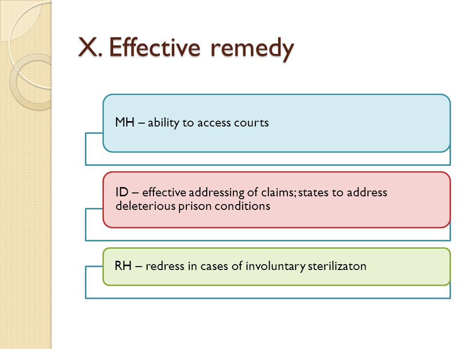 X. Effective remedy MH – ability to access courts ID – effective addressing of claims; states to address deleterious prison conditions RH – redress in