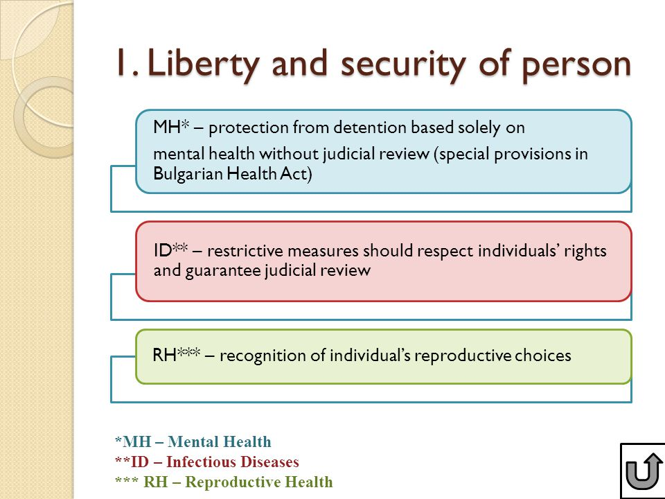 1. Liberty and security of person MH* – protection from detention based solely on mental health without judicial review (special provisions in Bulgari