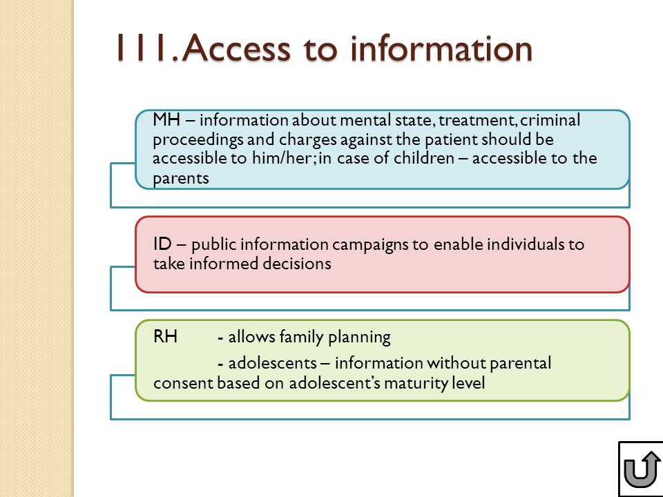 111. Access to information MH – information about mental state, treatment, criminal proceedings and charges against the patient should be accessible t