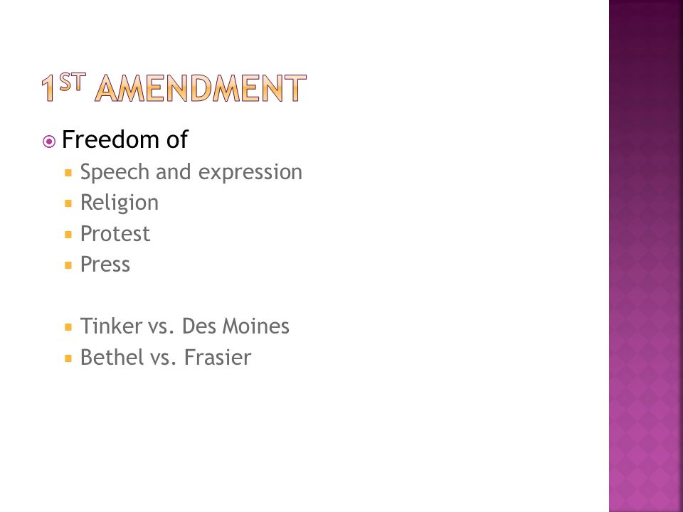  Freedom of  Speech and expression  Religion  Protest  Press  Tinker vs.