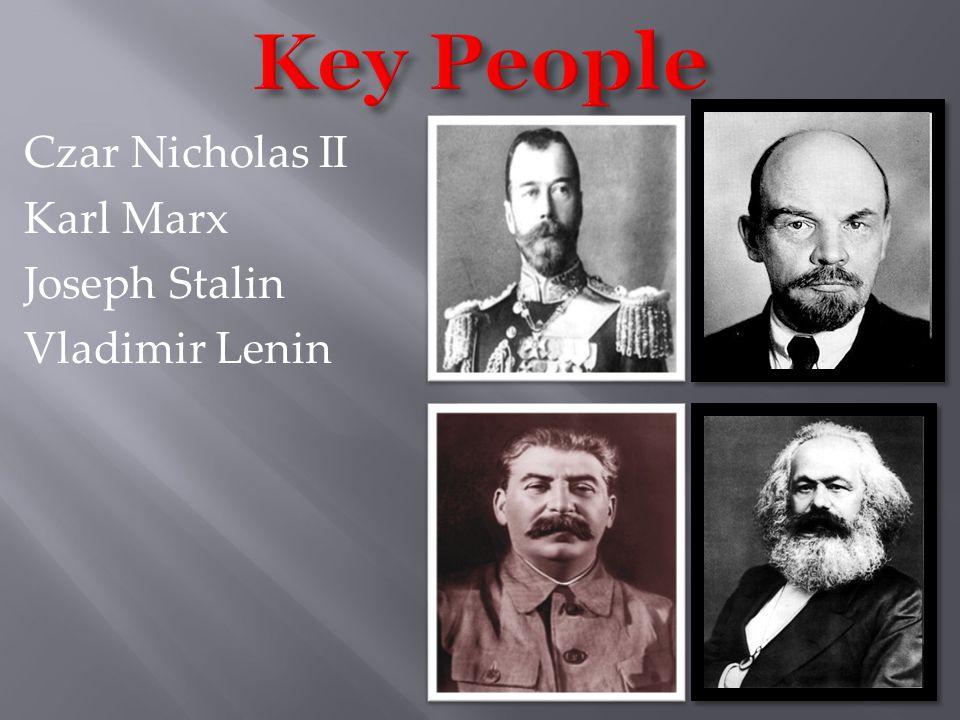 Czar Nicholas II Karl Marx Joseph Stalin Vladimir Lenin