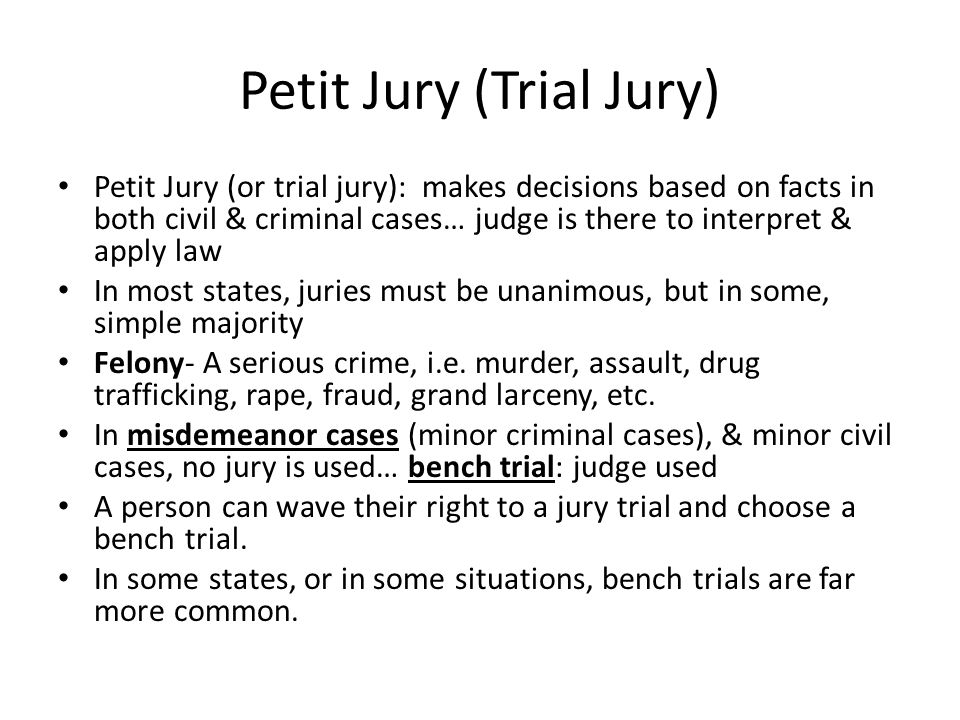 Petit Jury (Trial Jury) Petit Jury (or trial jury): makes decisions based on facts in both civil & criminal cases… judge is there to interpret & apply