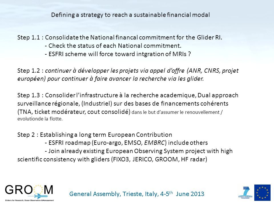 Step 1.1 : Consolidate the National financal commitment for the Glider RI.