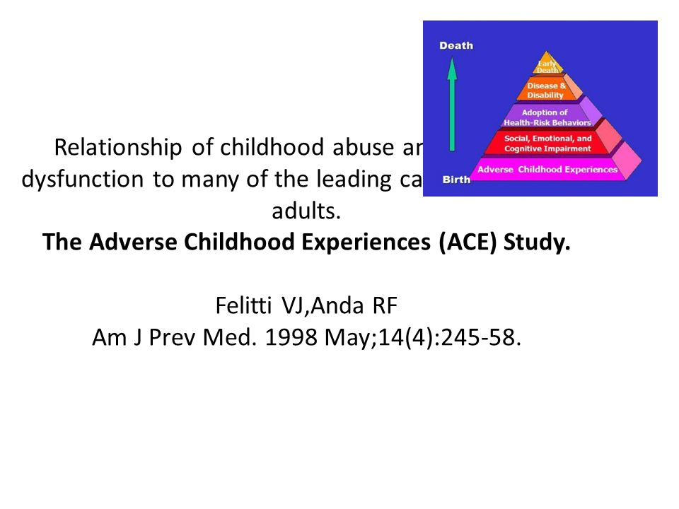 Relationship of childhood abuse and household dysfunction to many of the leading causes of death in adults.