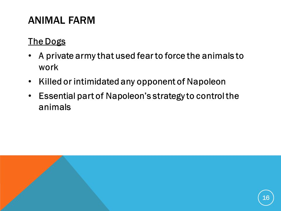 ANIMAL FARM The Dogs A private army that used fear to force the animals to work Killed or intimidated any opponent of Napoleon Essential part of Napol