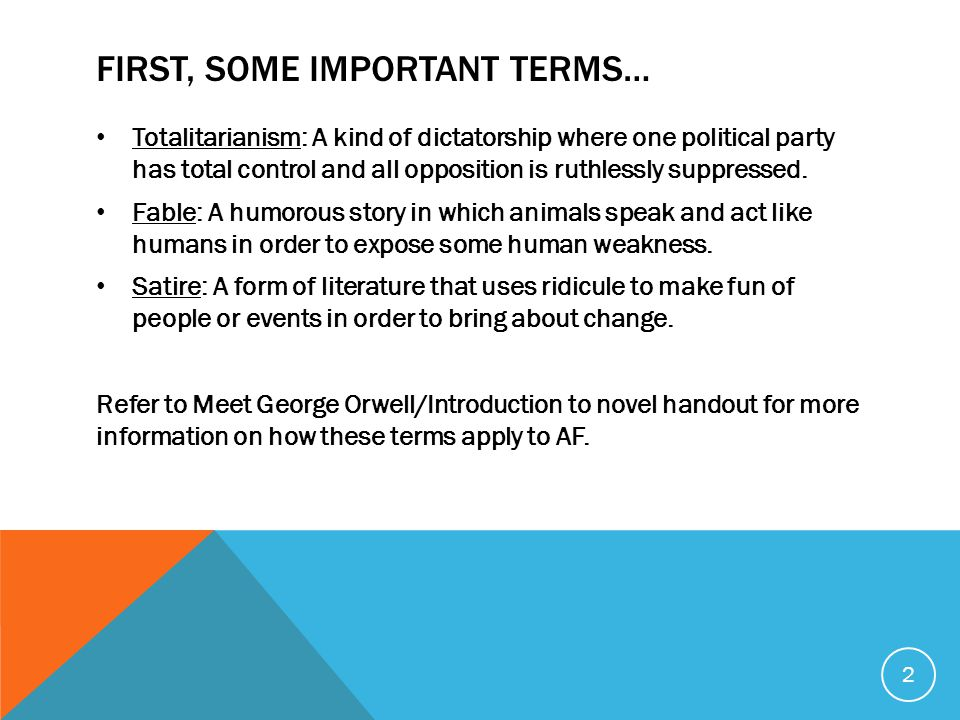 FIRST, SOME IMPORTANT TERMS… Totalitarianism: A kind of dictatorship where one political party has total control and all opposition is ruthlessly suppressed.