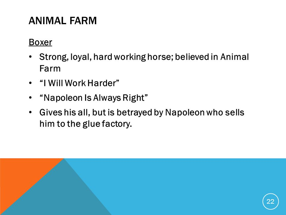 ANIMAL FARM Boxer Strong, loyal, hard working horse; believed in Animal Farm I Will Work Harder Napoleon Is Always Right Gives his all, but is betrayed by Napoleon who sells him to the glue factory.