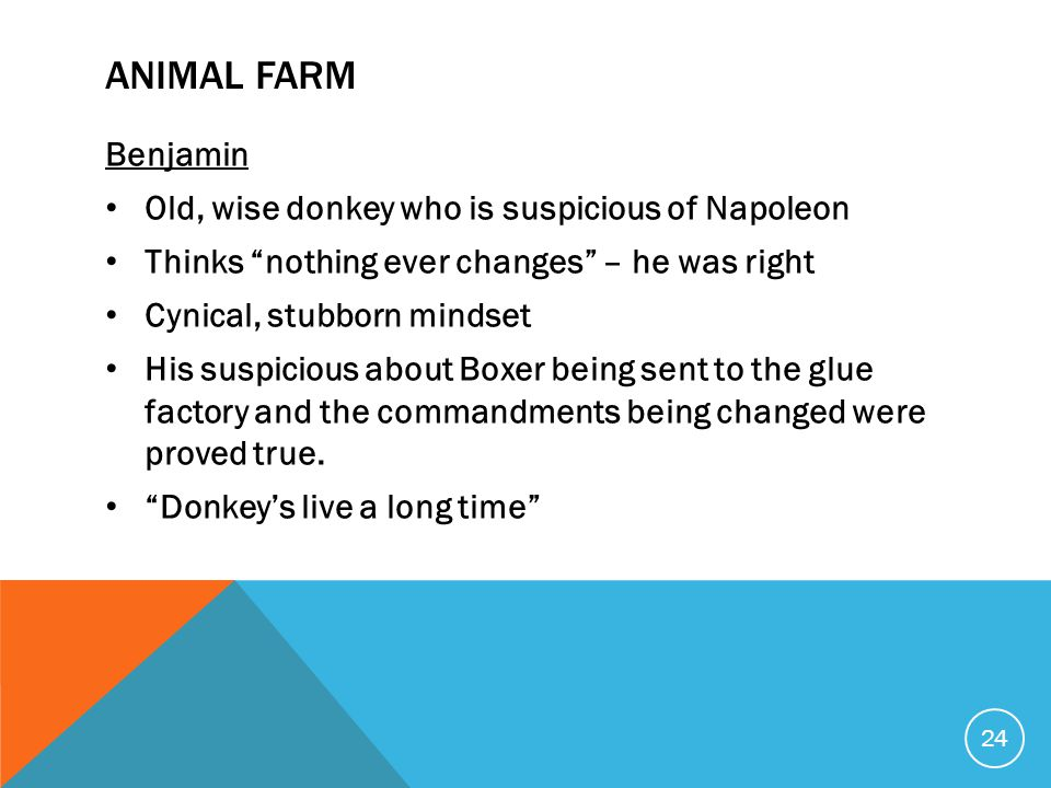 "ANIMAL FARM Benjamin Old, wise donkey who is suspicious of Napoleon Thinks ""nothing ever changes"" – he was right Cynical, stubborn mindset His suspici"