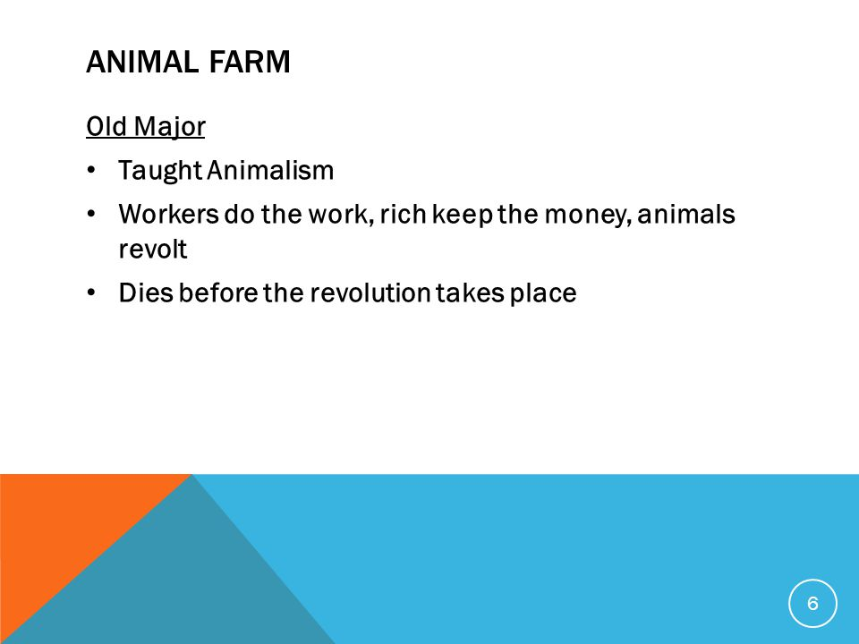 ANIMAL FARM Old Major Taught Animalism Workers do the work, rich keep the money, animals revolt Dies before the revolution takes place 6