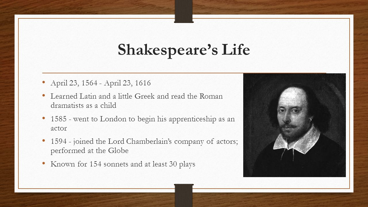 Shakespeare's Life April 23, 1564 - April 23, 1616 Learned Latin and a little Greek and read the Roman dramatists as a child 1585 - went to London to begin his apprenticeship as an actor 1594 - joined the Lord Chamberlain's company of actors; performed at the Globe Known for 154 sonnets and at least 30 plays