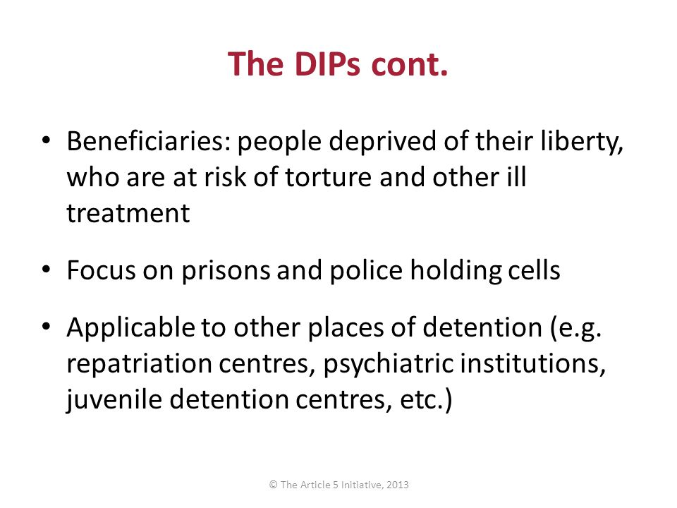 The DIPs cont. Beneficiaries: people deprived of their liberty, who are at risk of torture and other ill treatment Focus on prisons and police holding