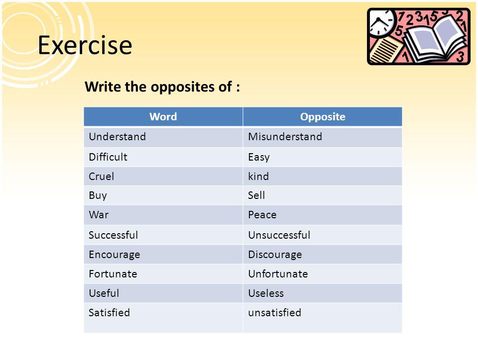Exercise Write the opposites of : WordOpposite UnderstandMisunderstand DifficultEasy Cruelkind BuySell WarPeace SuccessfulUnsuccessful EncourageDiscourage FortunateUnfortunate UsefulUseless Satisfiedunsatisfied