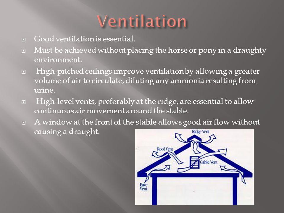  Good ventilation is essential.