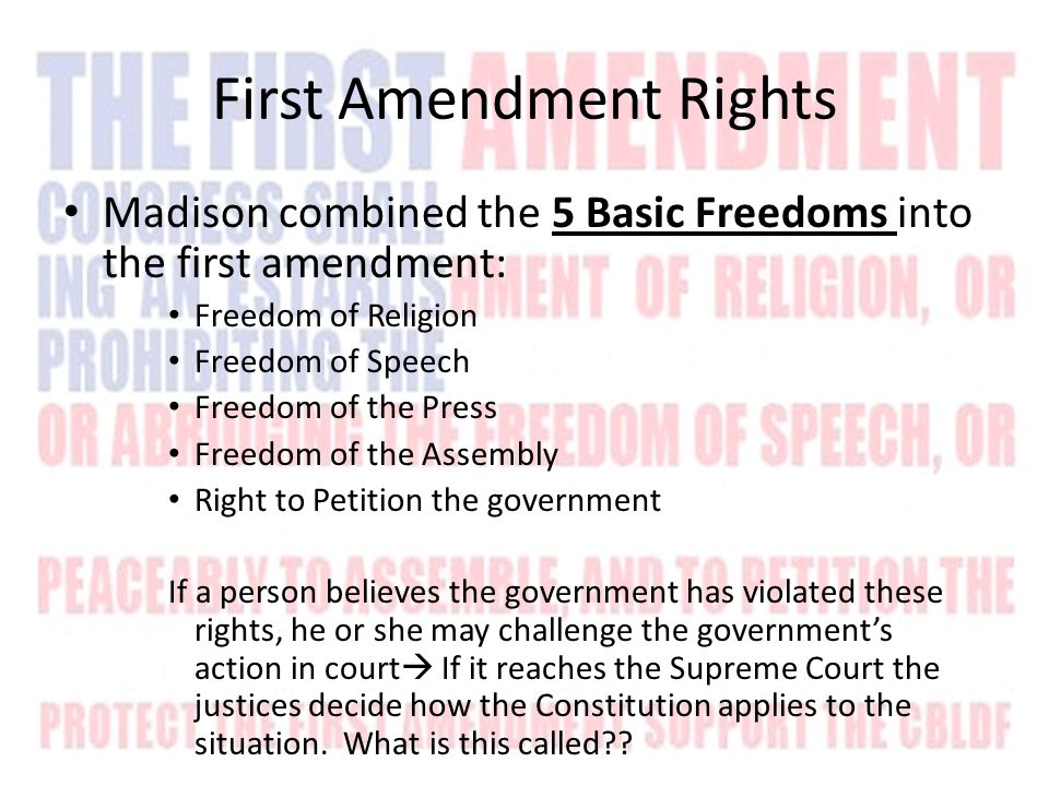 Right to Worship Freely Two guarantees of religious freedom: 1) Congress shall make no law respecting an establishment of religion  No official faith of the US Amendment builds a wall of separation between church and state  How high is the wall.