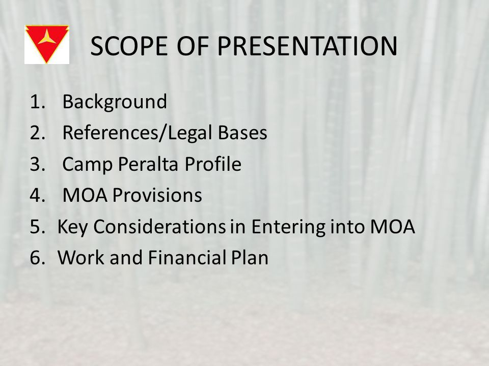 SCOPE OF PRESENTATION 1. Background 2. References/Legal Bases 3.