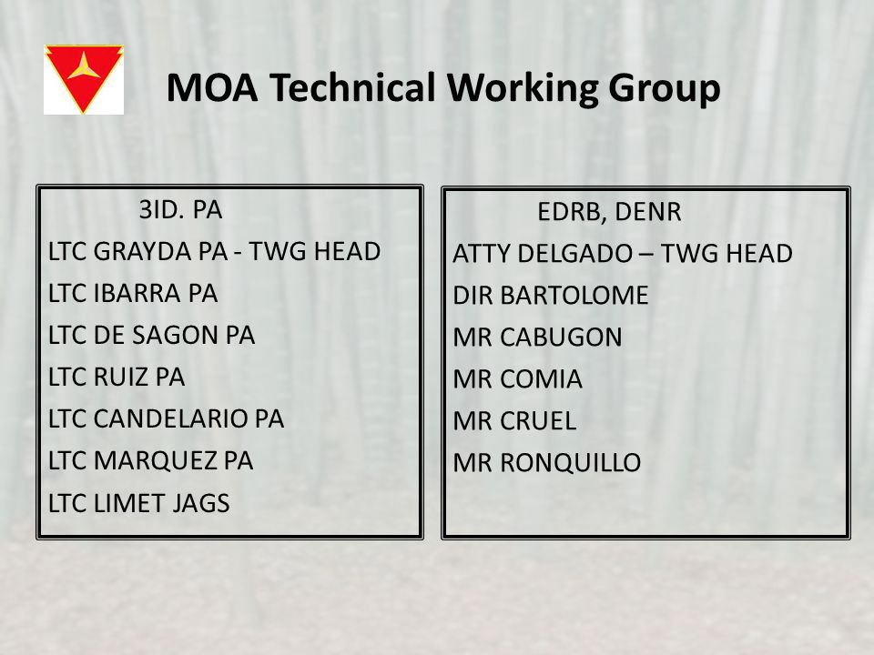 MOA Technical Working Group 3ID.