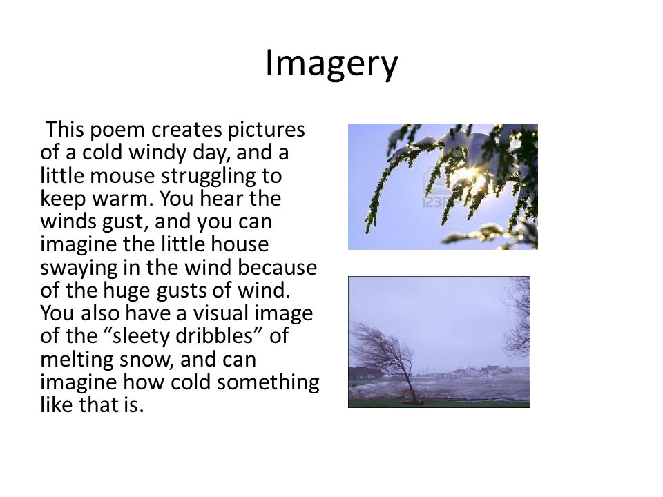 Imagery This poem creates pictures of a cold windy day, and a little mouse struggling to keep warm.