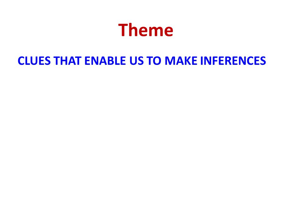 Theme CLUES THAT ENABLE US TO MAKE INFERENCES