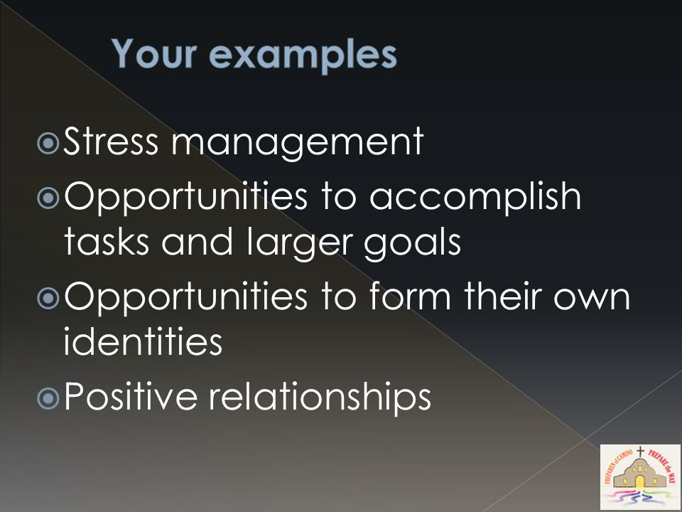 Stress management  Opportunities to accomplish tasks and larger goals  Opportunities to form their own identities  Positive relationships