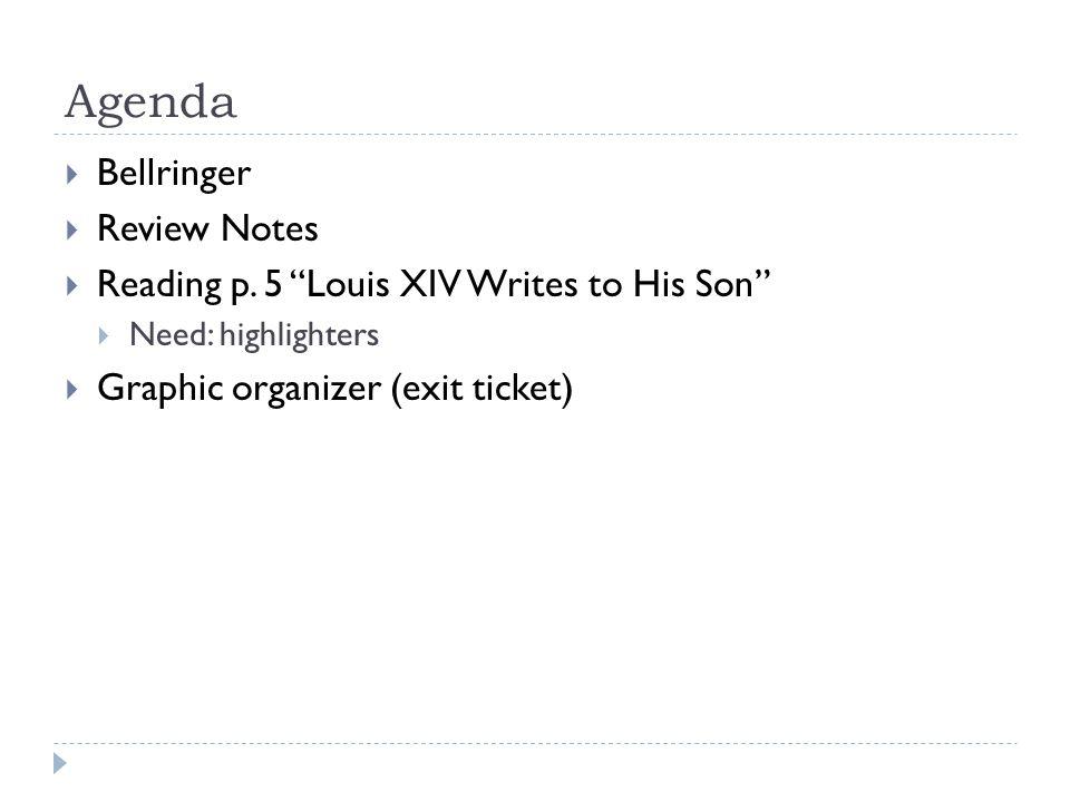 Agenda  Bellringer  Review Notes  Reading p.