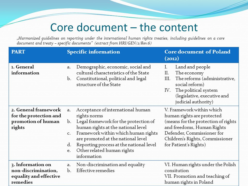 Core document – the content PARTSpecific informationCore document of Poland (2012) 1. General information a.Demographic, economic, social and cultural