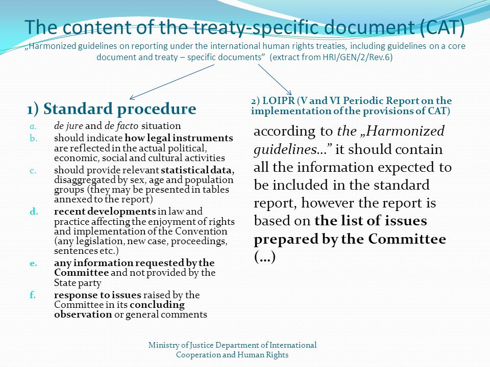 "The content of the treaty-specific document (CAT) ""Harmonized guidelines on reporting under the international human rights treaties, including guideli"