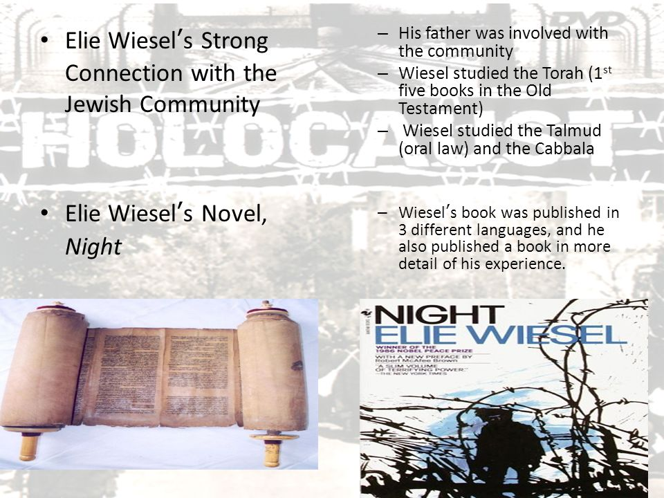 Genre of Night While the book Night is about Wiesel's life, it is not necessarily considered an autobiography He changes facts to make his characters different, making this a fictional story.